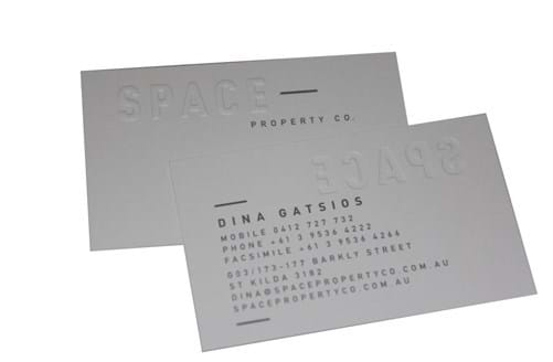 embossing on business card