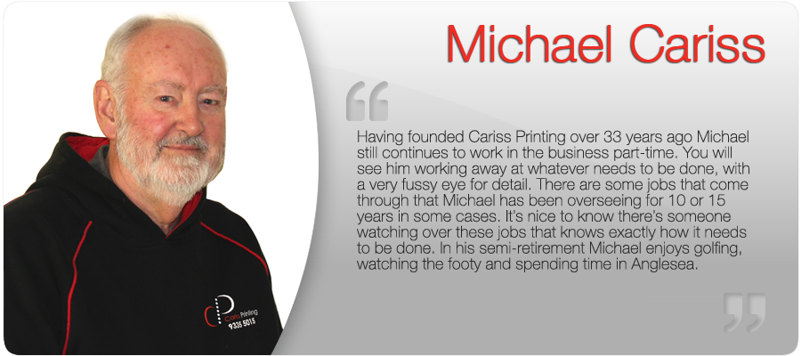 Print Manager Michael Cariss of Cariss Printing Melbourne